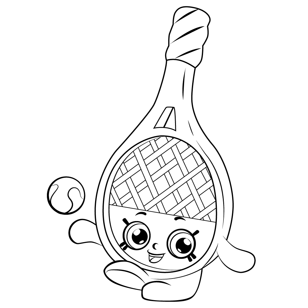 Shopkins Tennis Racket Coloring Page
