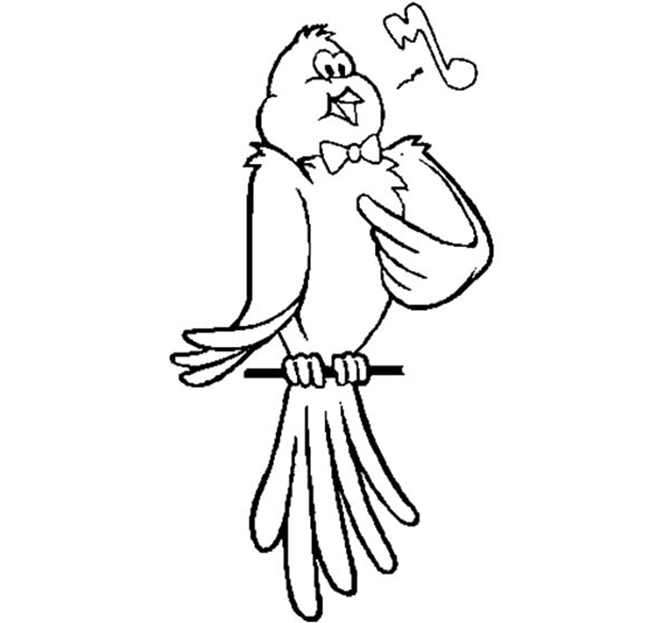 Signing Canary In Bowtie Coloring Page