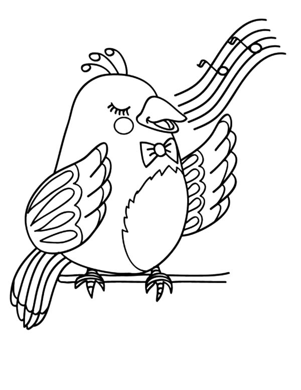 Singing Canary Coloring Page