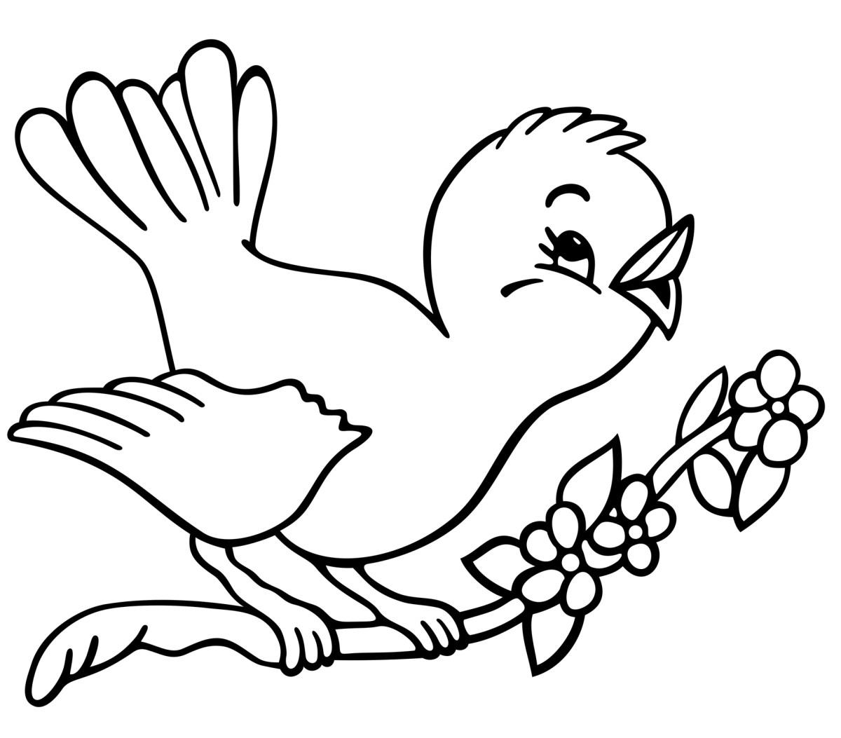 Singing Cartoon Sparrow Coloring Page