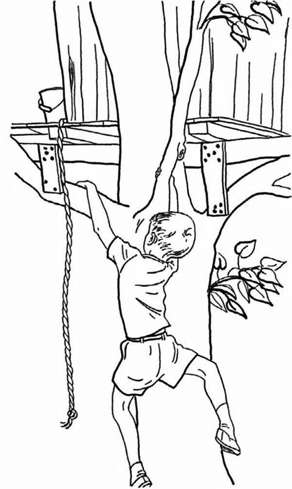 Boy Climbing Tree Coloring Page