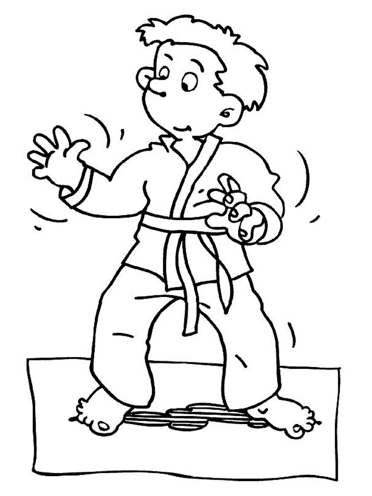 Boy Doing Martial Arts Coloring Pages