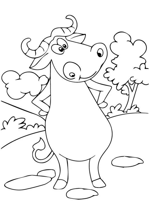 Cartoon Buffalo Coloring Pages
