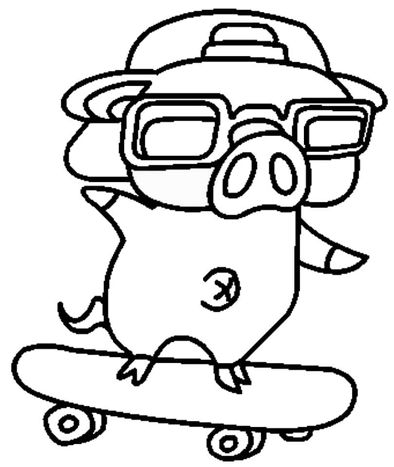 Cool Pig Skateboarding Coloring Page