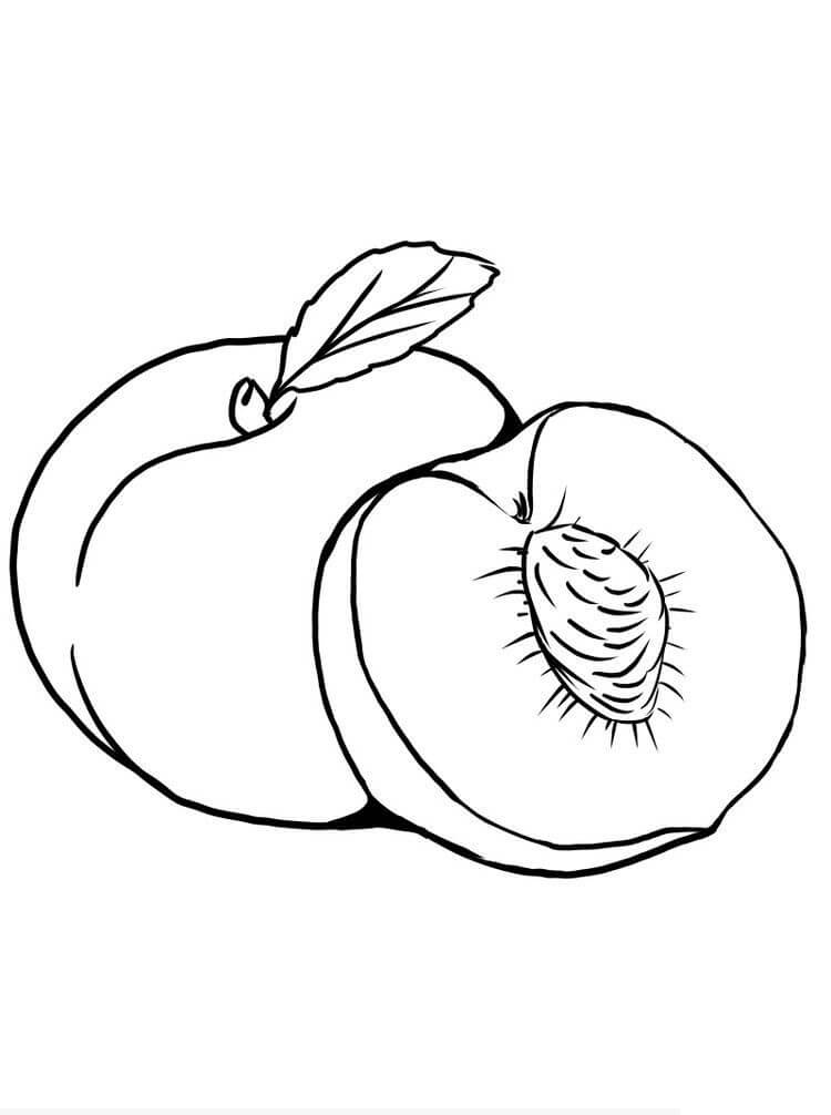 Cut Peach Coloring Pages