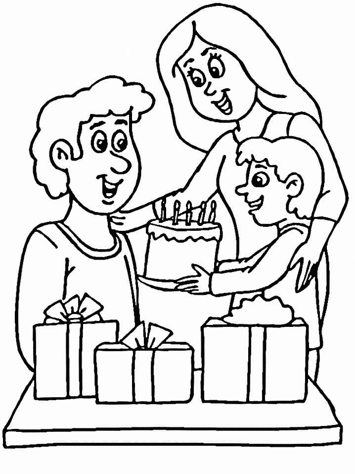 Dad Birthday Cake Coloring Pages
