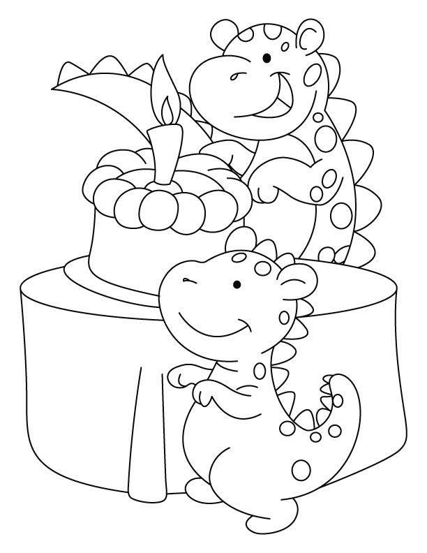 Dragon With Cake Coloring Pages