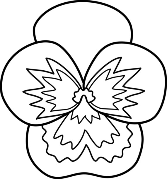 Easy Pansy Flower Coloring Pages