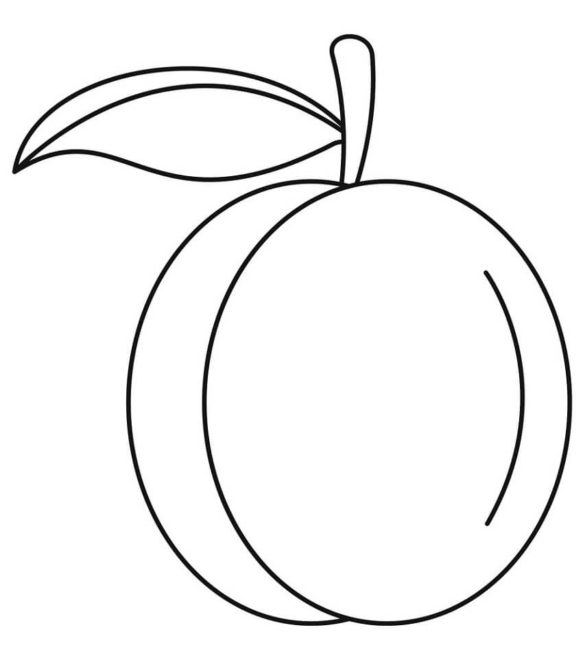 Easy Peach Coloring Page