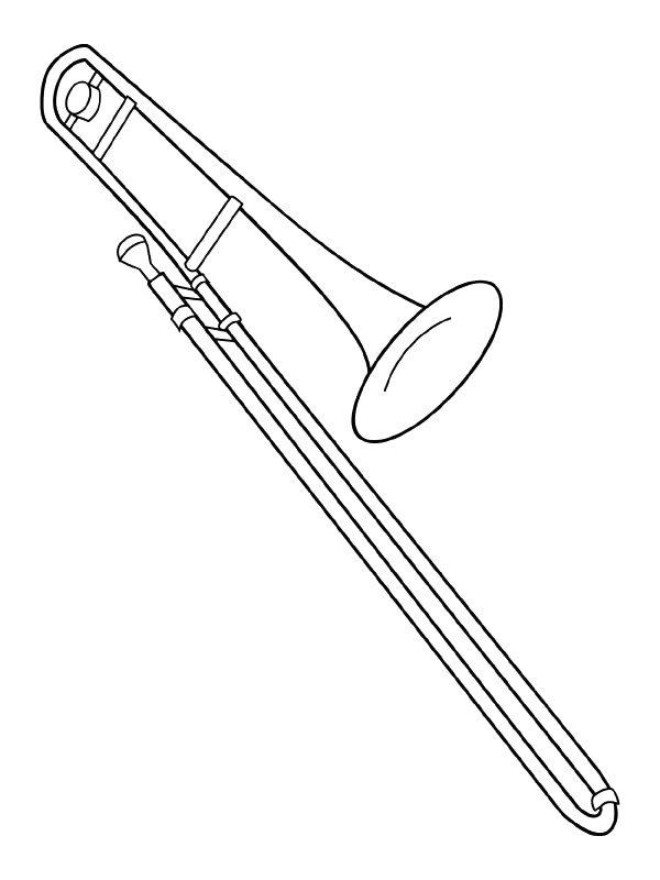 Easy Trombone Coloring Pages
