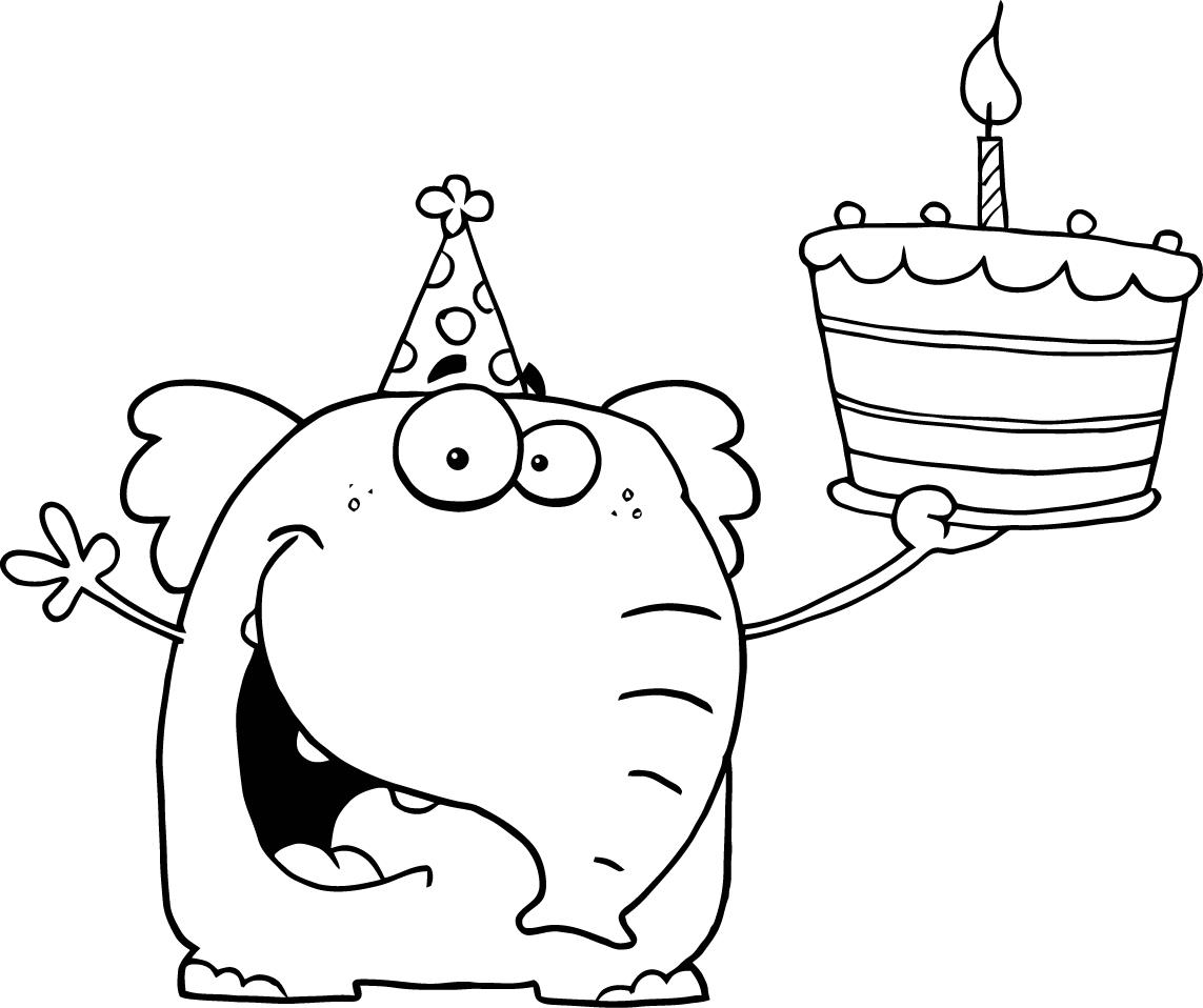 Elephant With Birthday Cake Coloring Pages