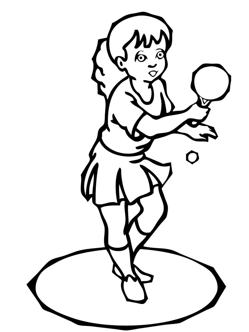Girl Playing Ping Pong Coloring Page