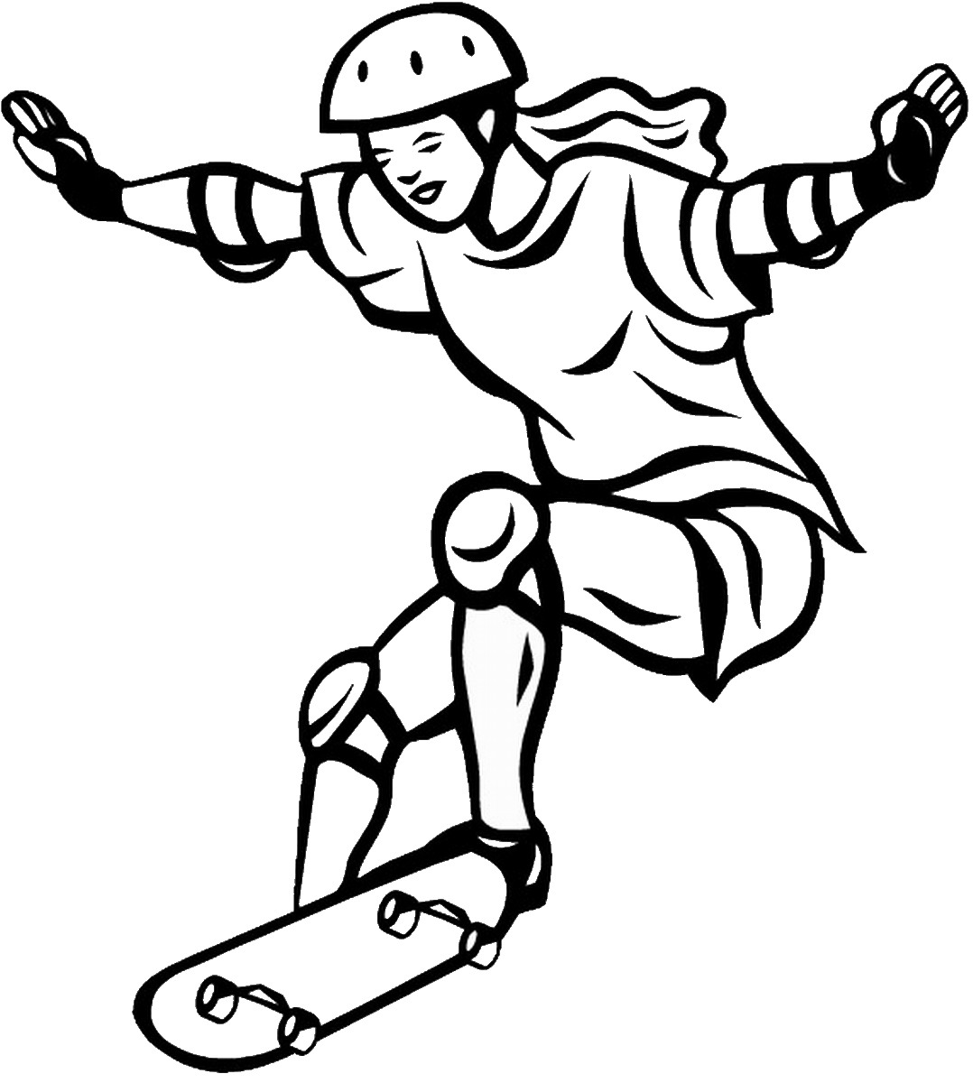 Girl Skateboarding Coloring Pages