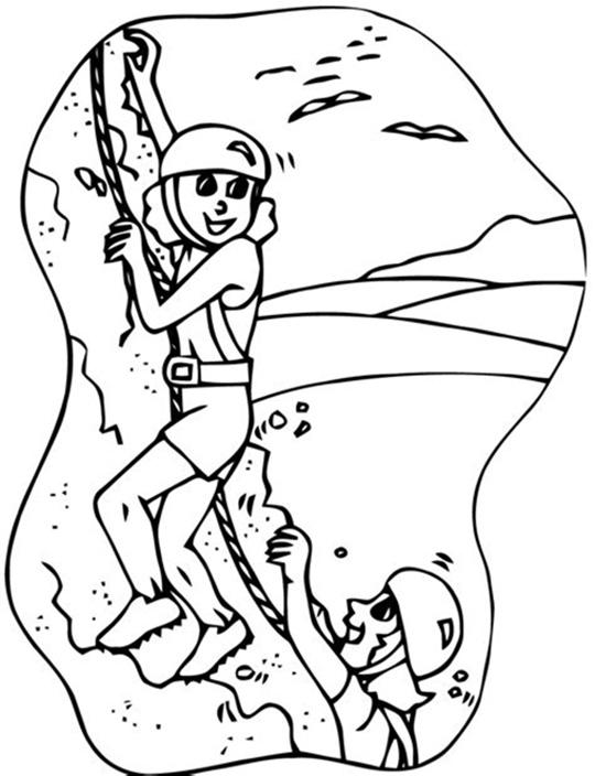 Girls Rock Climbing Coloring Page
