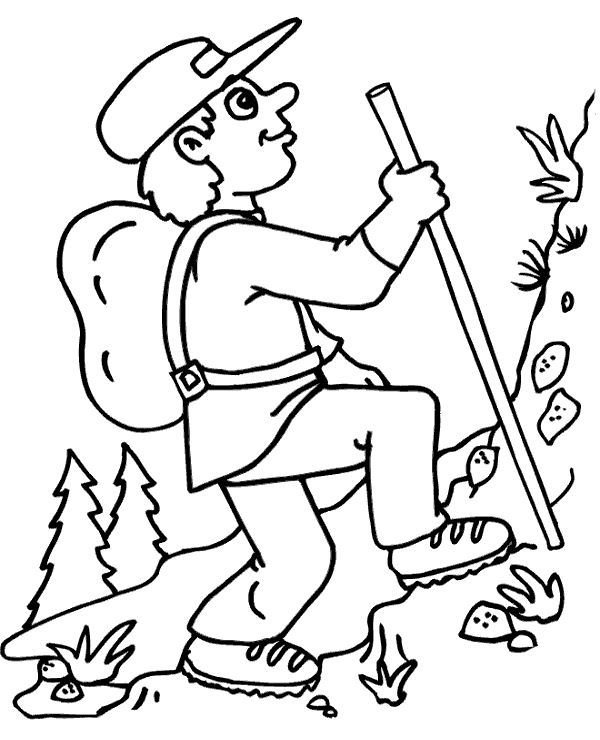 Man Hiking Outdoors Coloring Page