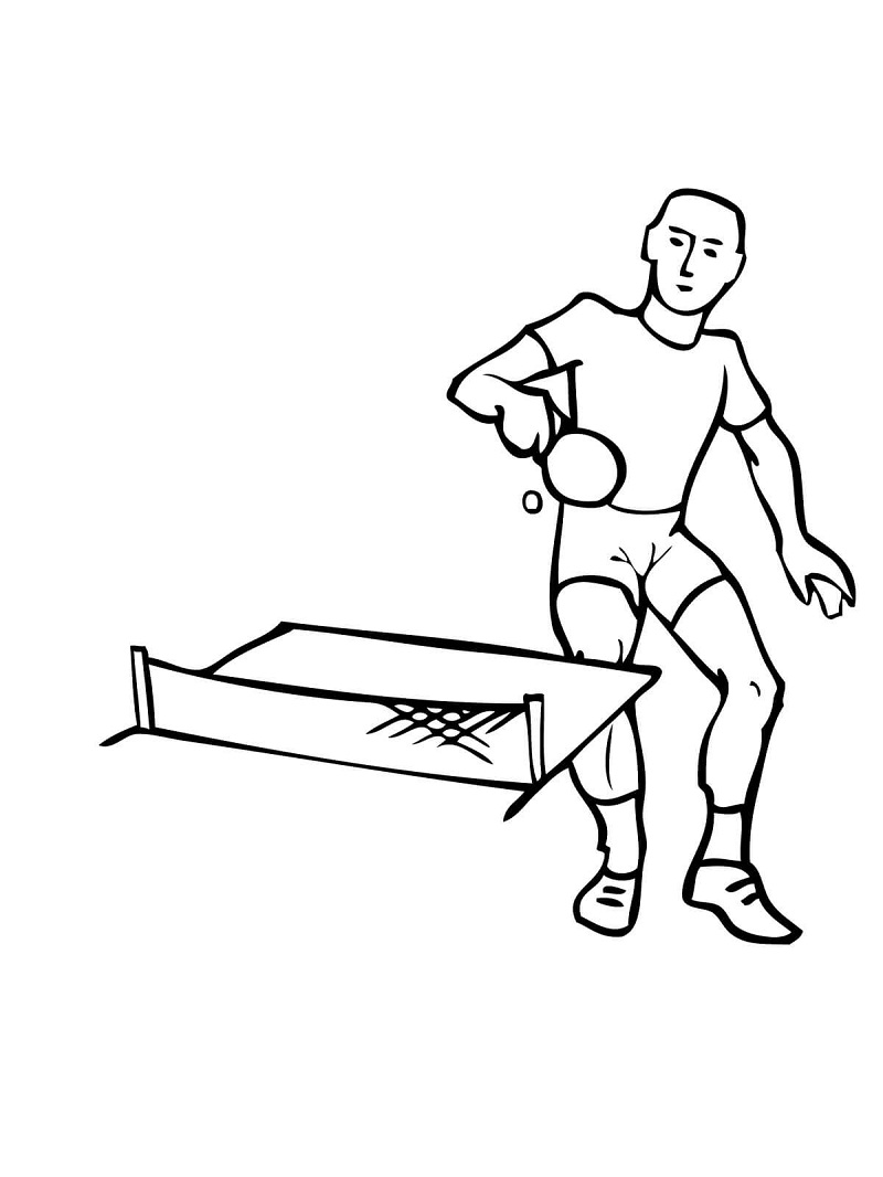 Man Playing Ping Pong Coloring Pages