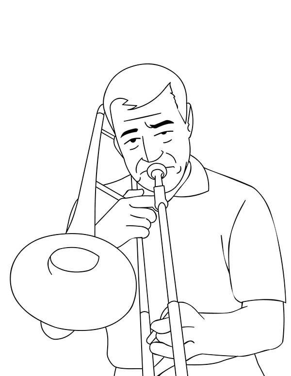 Man Playing Trombone Coloring Page