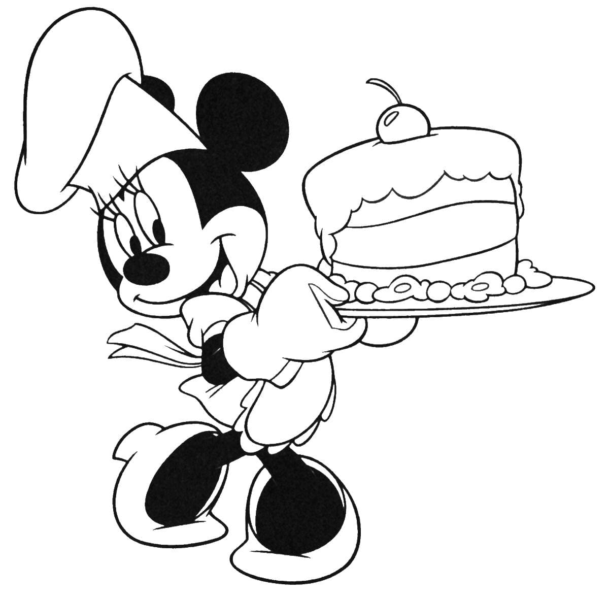 Minnie Mouse With Cake Coloring Pages