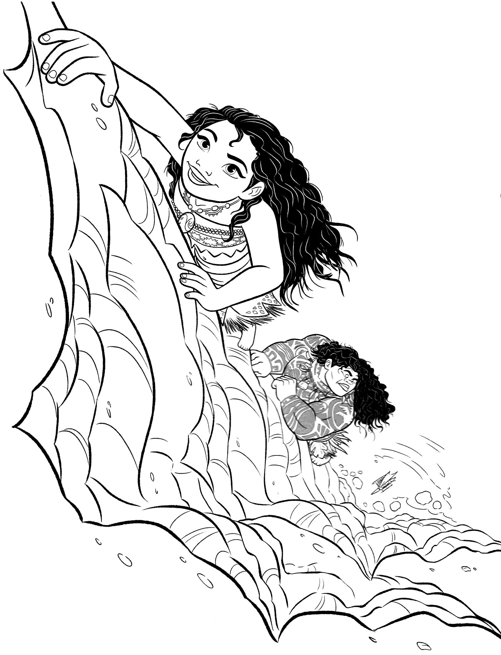 Moana And Maui Climbing Coloring Page