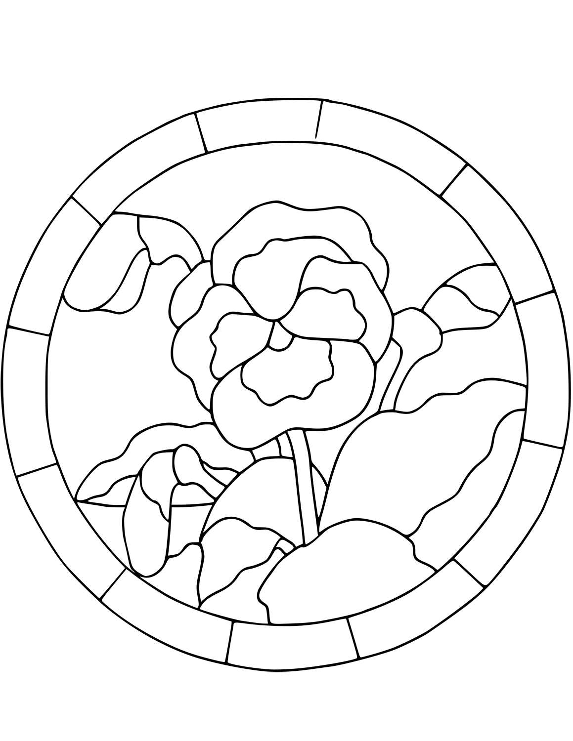 Pansy Mosiac Coloring Pages
