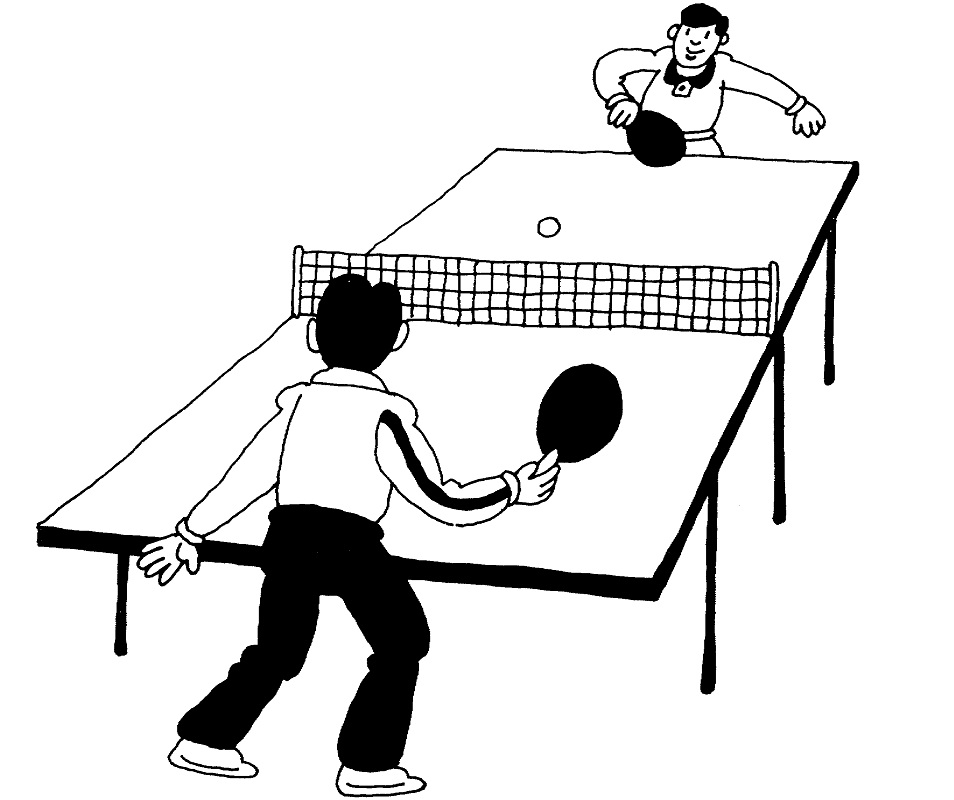 Ping Pong Game Coloring Page