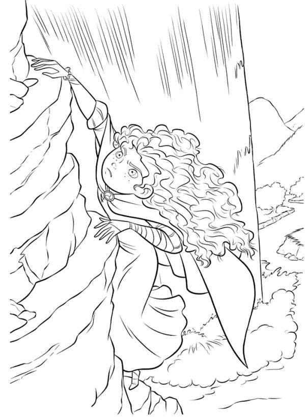 Princess Merida Climbing Coloring Page