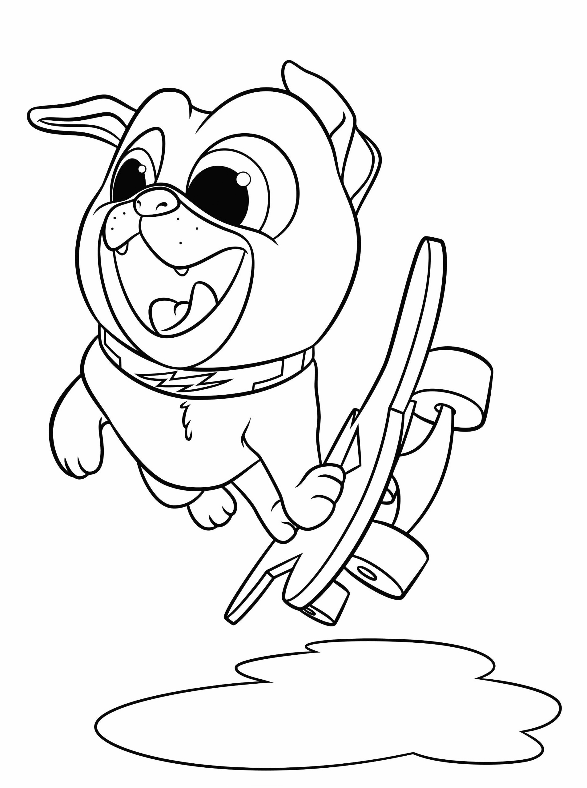 Puppy Skateboarding Coloring Page