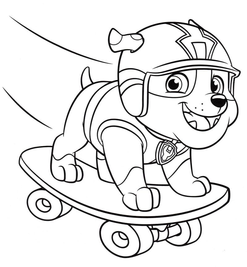 Puppy Skateboarding Coloring Pages