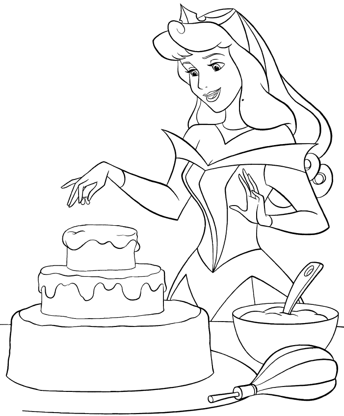 Sleeping Beauty Baking Cake Coloring Page