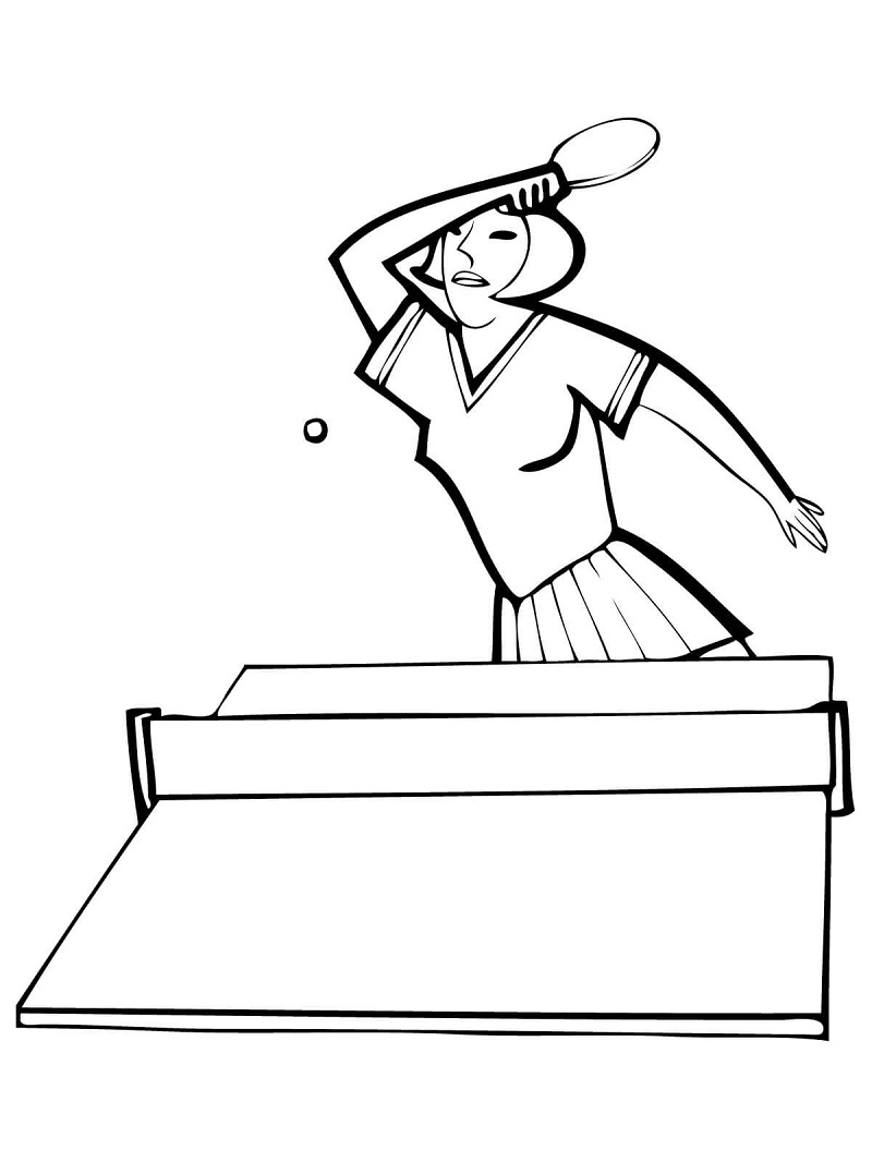 Woman Ping Pong Player Coloring Page
