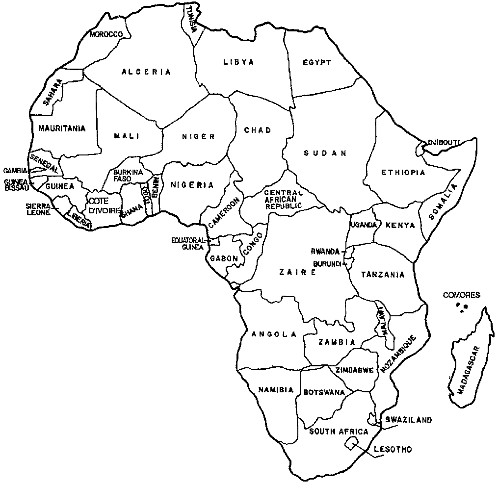 Africa Map Coloring Page