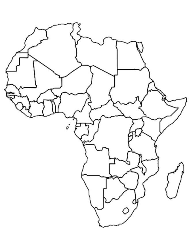 Africa Map Empty Worksheet