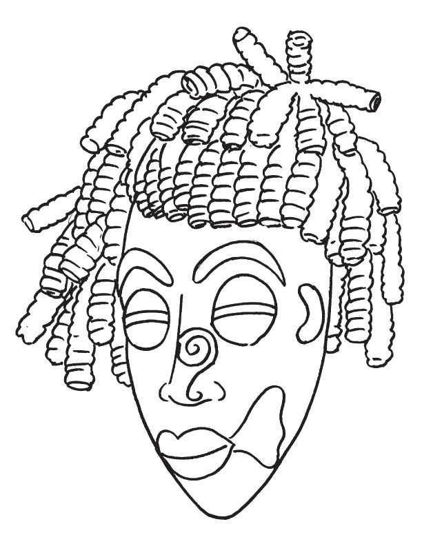 African Mask Coloring Pages