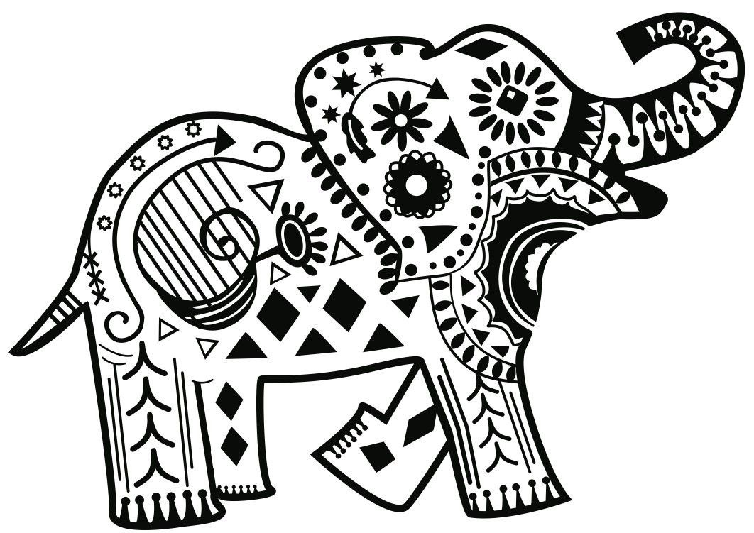 African Zen Elephant Coloring Page