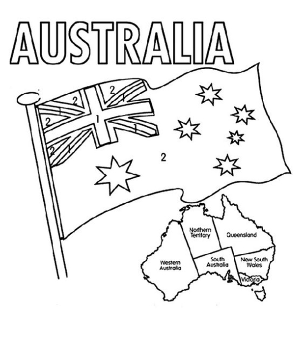 Australia Flag And Map Coloring Sheet