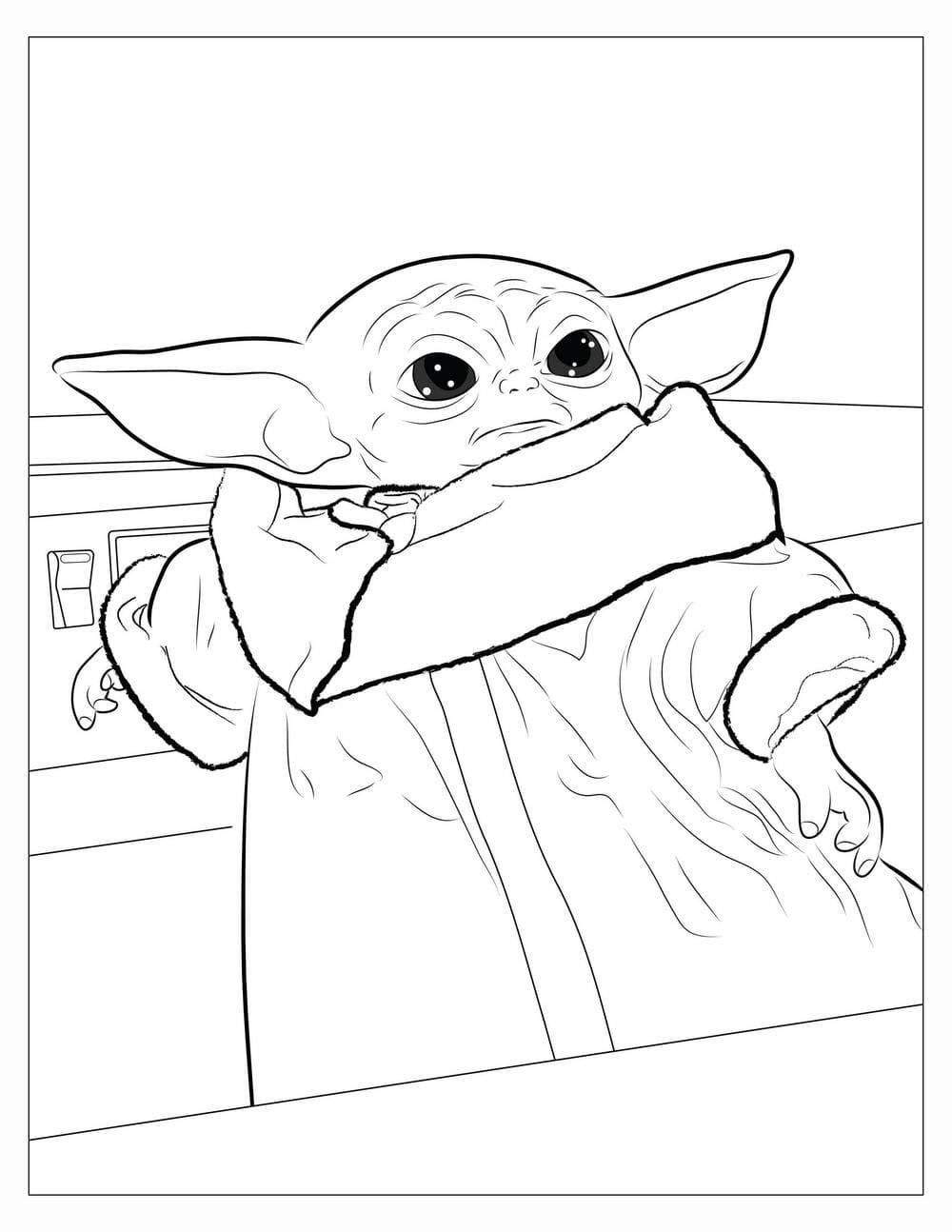 Baby Yoda Coloring Page
