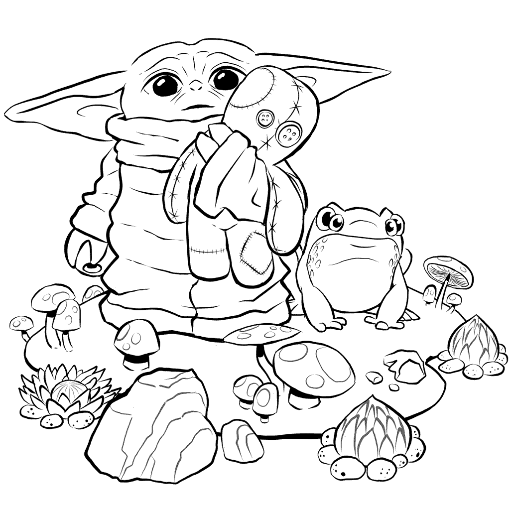 Baby Yoda And Stuffed Animal Coloring Page