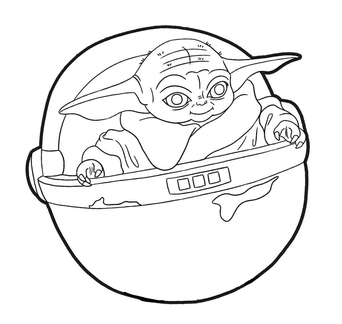 Baby Yoda In Buggy Coloring Page