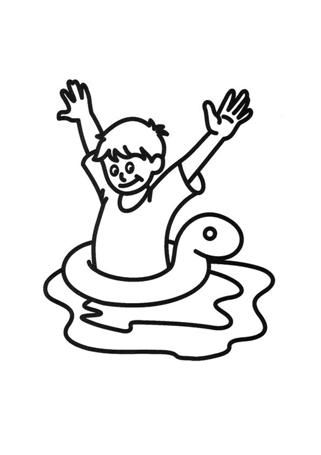 Child Swimming In Inner Tube Coloring Page
