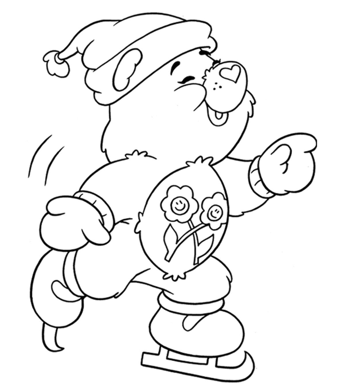 Cute Cartoon Bear Ice Skating Coloring Page