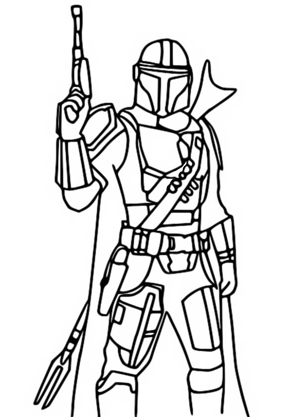 Easy Mandalorian Coloring Pages
