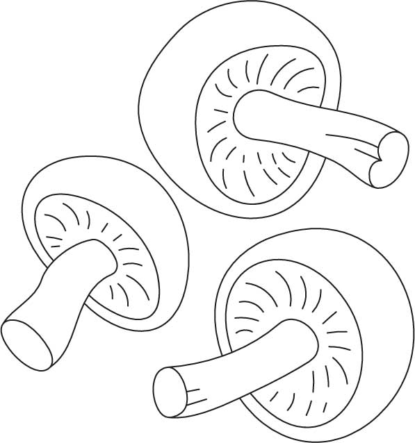 Easy Mushrooms Coloring Pages