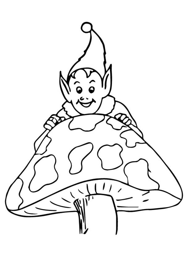 Elf On A Mushroom Coloring Page