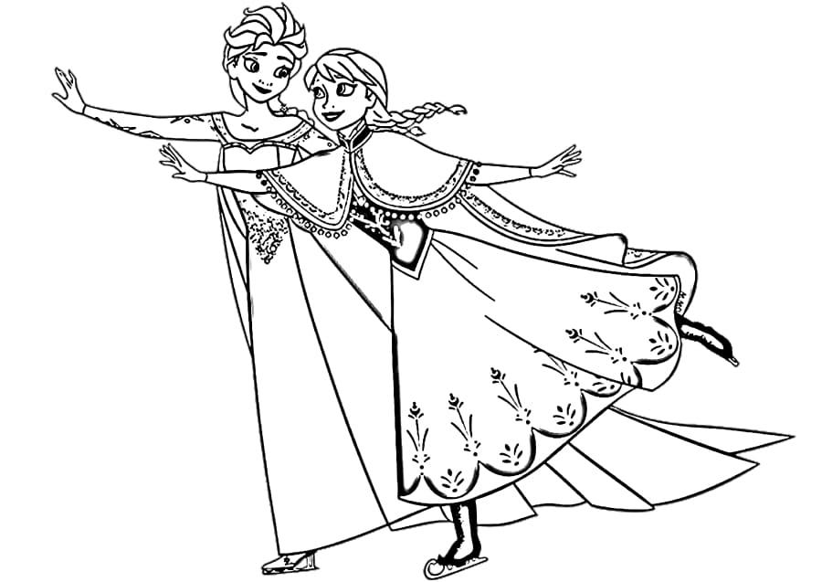 Elsa And Anna Ice Skating Coloring Page