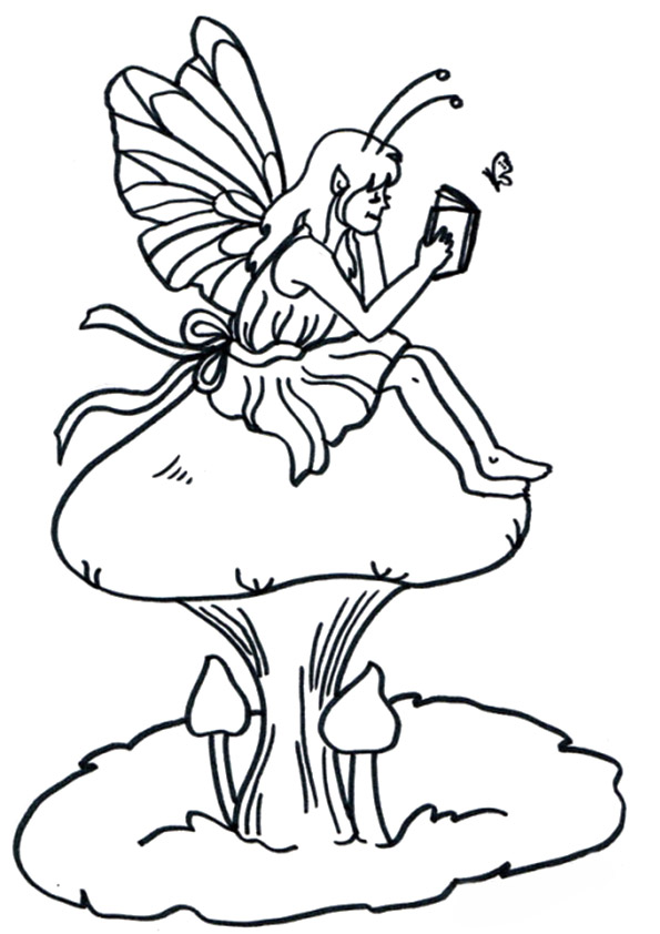 Fairy Reading On Mushroom Coloring Page