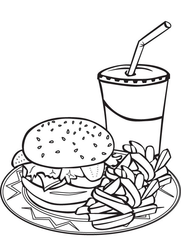 Fast Food Meal Coloring Page