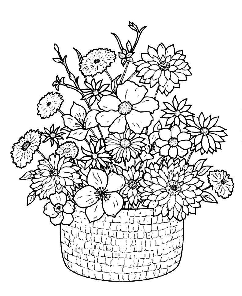 Flower Basket Coloring Pages
