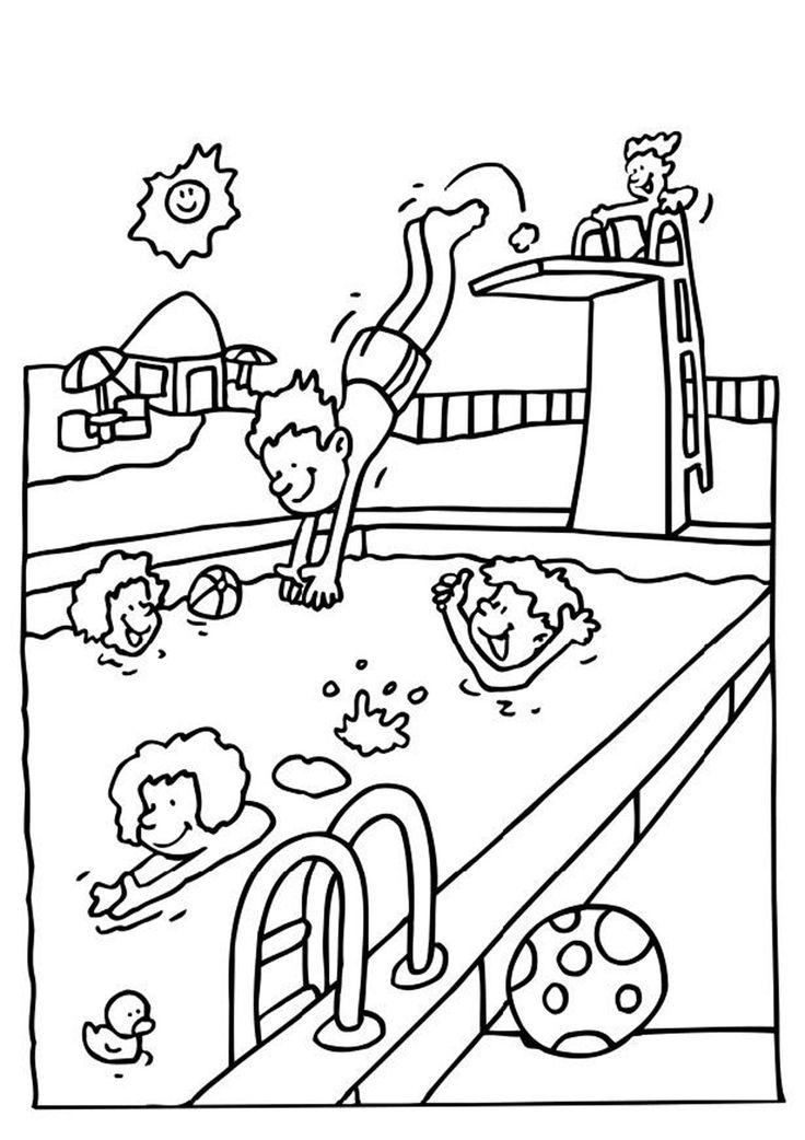 Fun Swimming Pool Coloring Page