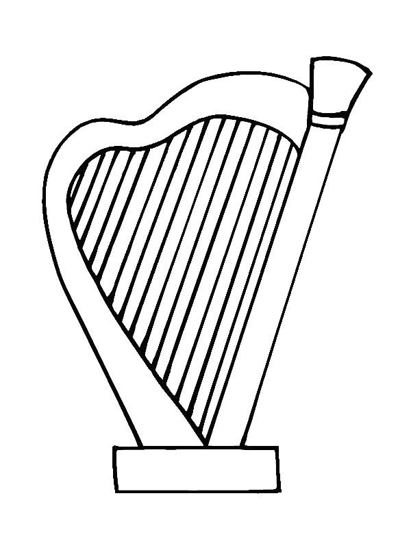 Harp Printable Coloring Page