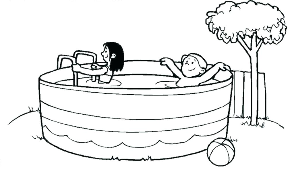 Kids In Swimming Pool Coloring Page